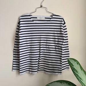 Black + White Striped Zara Knit Sweater sz S